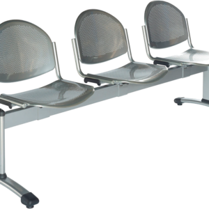 3-seat metal grey bench